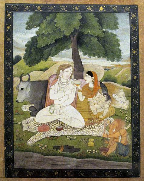 Ganesha (re. unten) mit Seinen Eltern Shiva und Parvati, und seinem Bruder Karttikeya (in Parvatis Arm).